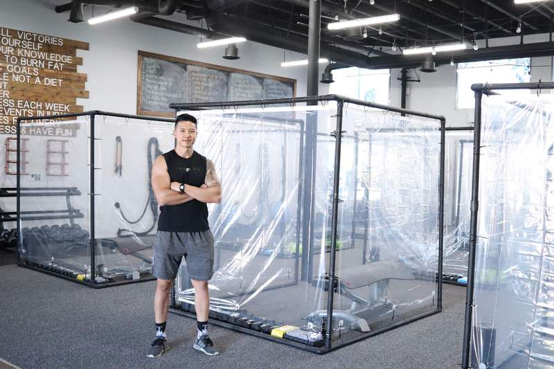 At Inspire South Bay, owner Peet Sapsin built plastic pods to maintain social distancing.