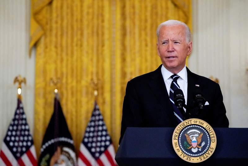 President Joe Biden delivered remarks on the nation's COVID-19 response and  vaccination program during a speech in the East Room at the White House in Washington, D.C., on Aug. 18, 2021.