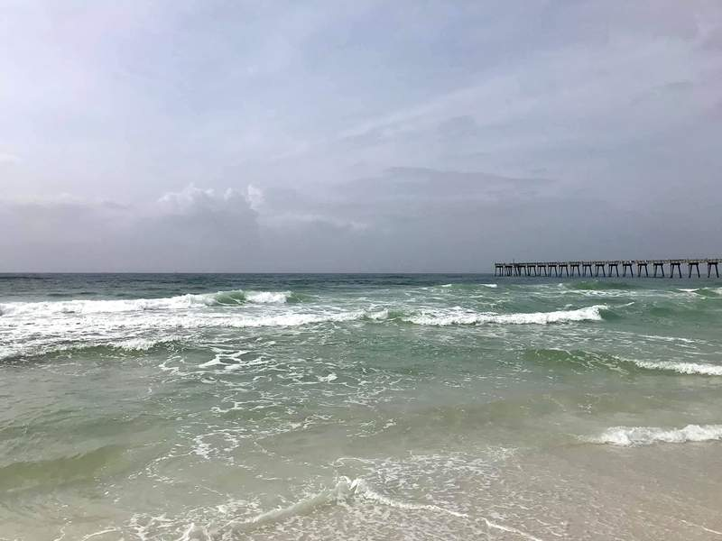 93 swimmers were rescued from rip currents in one weekend last March at Pensacola Beach. Photo credit Brantly Keiek @BrantlyWx