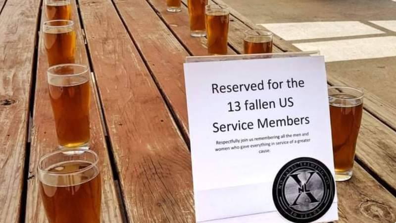 Thirteen beers were set aside for those who died while serving in Afghanistan last week.