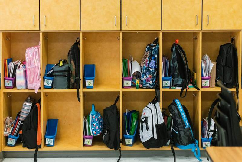 Students backpacks sit in their cubbies at Blanco Vista Elementary School in San Marcos on Aug. 23, 2021.
