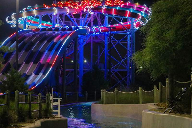 Typhoon Texas Katy's red, white and blue waterslide.