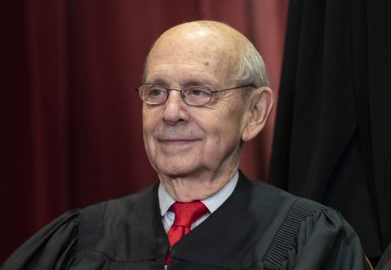 FILE - In this Nov. 30, 2018, file photo, Associate Justice Stephen Breyer sits with fellow Supreme Court justices for a group portrait at the Supreme Court Building in Washington. Progressives are hoping 82-year-old Justice Stephen Breyer retires soon to allow President Joe Biden to appoint a like-minded successor while Democrats control the White House and Senate.  (AP Photo/J. Scott Applewhite, File)