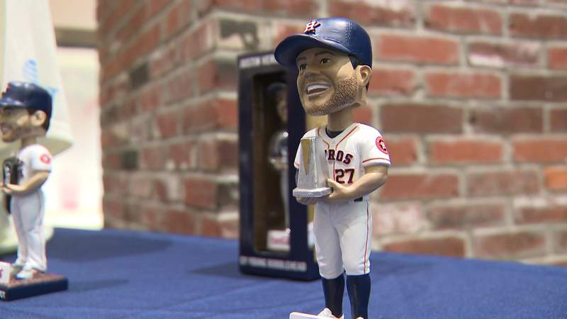 New Houston Astros bobbleheads on display will be available at special events during the 2020 season.