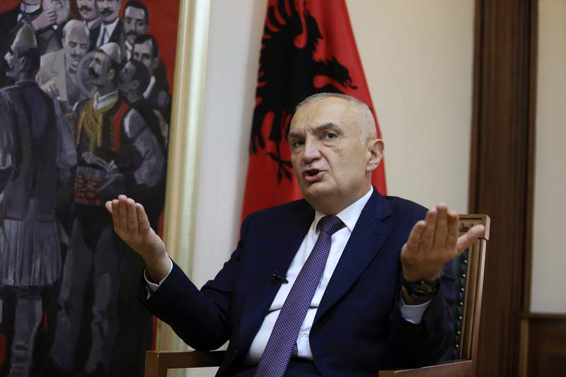 Albanian President Ilir Meta speaks during an interview with the Associated Press in Tirana, Albania, Wednesday, April 21, 2021. Albanias president waded deep into the country's parliamentary election campaign Wednesday, accusing the left-wing government of running a kleptocratic regime and bungling its pandemic response. In an interview with The Associated Press, Ilir Meta also said he would step down if Prime Minister Edi Rama's Socialists  who are leading the main opposition conservatives in opinion polls  win Sunday's vote. (AP Photo/Hektor Pustina)