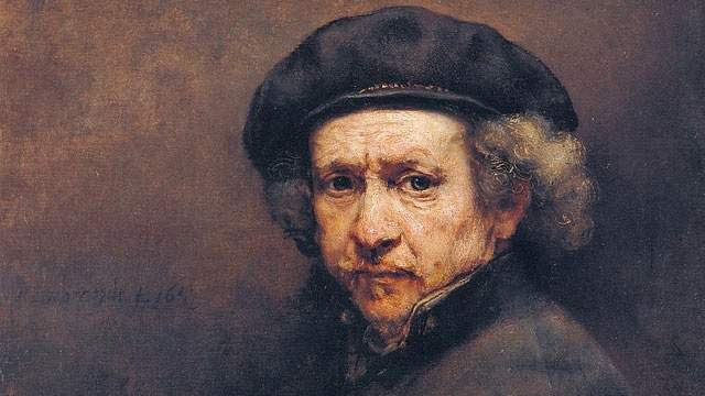 1606: Painter Rembrandt Harmenszoon van Rijn, generally considered one of the greatest painters and printmakers in European art history and the most important in Dutch history, is born in Amsterdam. He's seen here in his 1659 self-portrait.