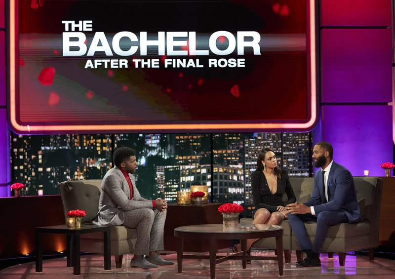 """In this image provide by ABC, host Emmanuel Acho from left, speaks with Michelle Young and Matt James during """"The Bachelor: After the Final Rose."""" (Craig Sjodin/ABC via AP)"""