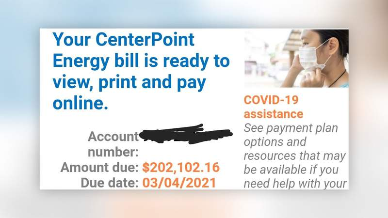 A KPRC 2 viewer shared this image of their digital bill on Feb. 18, 2021.