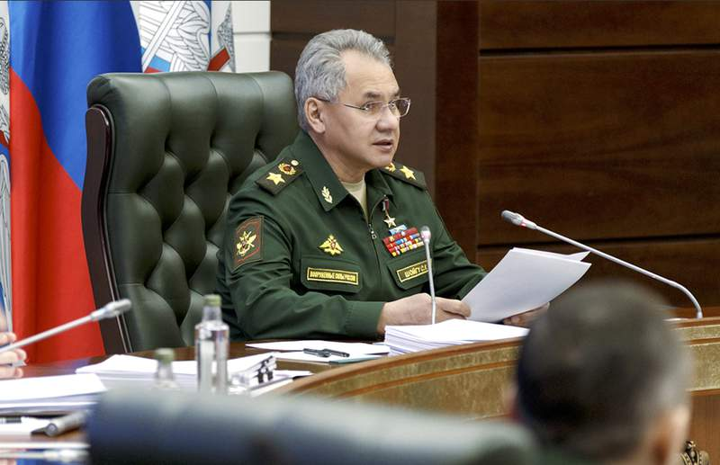 In this handout photo released by Russian Defense Ministry Press Service, Russian Defense Minister Sergei Shoigu speaks during a meeting with hight level military officials in Moscow, Russia, Monday, May 31, 2021. Russia's defense minister says that that the military will form 20 new units in the country's west this year to counter what he described as a growing threat from NATO. Sergei Shoigu on Monday pointed at a growing number of flights by U.S. strategic bombers, deployments of NATO warships near Russia's borders and increasing drills by the alliance's force. (Russian Defense Ministry Press Service via AP)