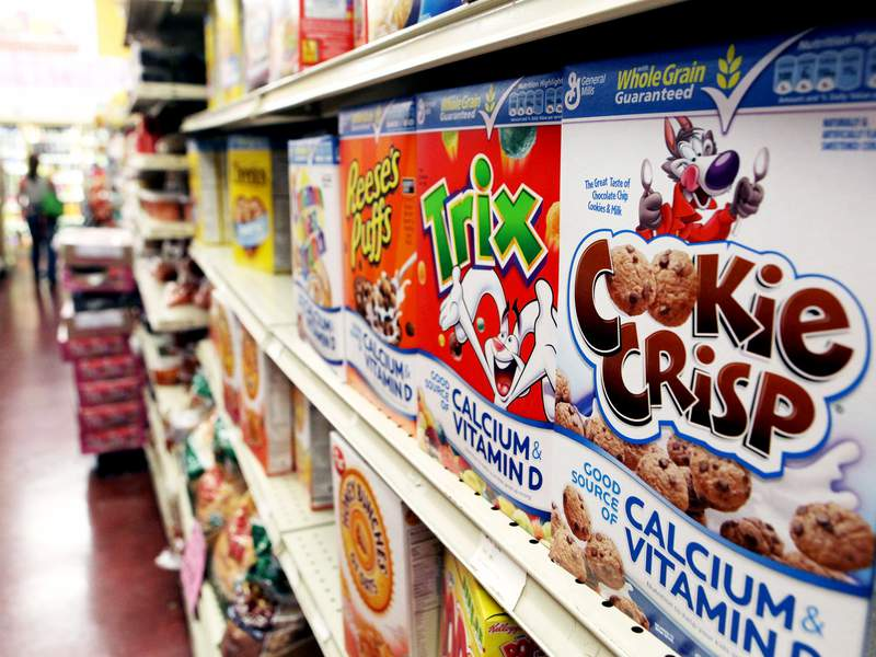 FILE - BERKELEY, CA - SEPTEMBER 23:  Boxes of cereal made by General Mills sit on the shelf at a grocery store September 23, 2009 in Berkeley, California. General Mills Inc. reported a 51 percent jump in first quarter profits with earnings of $420.6 million, or $1.25 per share compared to $278.5 million, or 79 cents per share one year ago.  (Photo by Justin Sullivan/Getty Images)