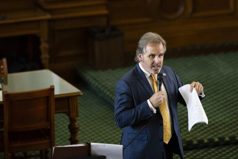 State Sen. Bryan Hughes, R-Mineola, speaks in favor of Senate Bill 1 on Aug. 11, 2021.