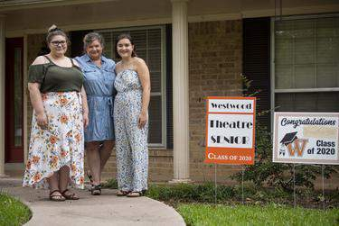 Annabelle Hicks, Ann Marie Cotman Hicks and Allison Hicks outside their north Austin home on July 1, 2020. Annabelle, a Trinity University freshman, and Allison, a University of North Texas senior, both plan to return to their respective campuses this fall.      Allie Goulding/The Texas Tribune