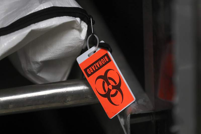 FILE - In this Tuesday, May 5, 2020 file photo, an orange biohazard tag hangs from a body bag in an isolated refrigerated unit set aside for bodies infected with coronavirus at the Cook County morgue in Chicago. The best sources of data on deaths from any cause is death certificates. But there time lags from when a death occurs, when a doctor or medical examiner assigns a cause, and when death certificates are filed, sent to health officials, and checked and counted. In a minority of cases, autopsies are performed, which can cause even more of a delay. So generally speaking, the most complete death counts are about two weeks old. (AP Photo/Charles Rex Arbogast)