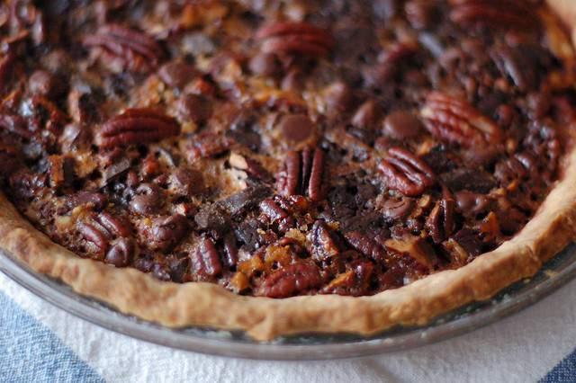 Chocolate pecan pie stock photo