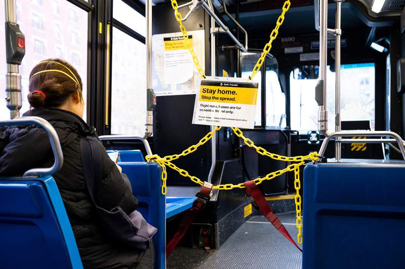 Some buses are distancing riders from drivers to better protect them.