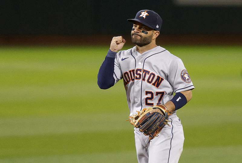 OAKLAND, CALIFORNIA - APRIL 01: Jose Altuve #27 of the Houston Astros reacts after they beat the Oakland Athletics in their Opening Day game at RingCentral Coliseum on April 01, 2021 in Oakland, California. (Photo by Ezra Shaw/Getty Images)