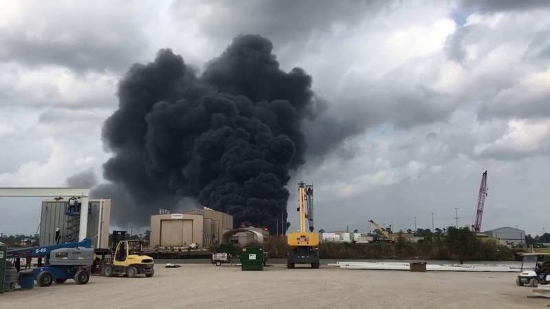 Large industrial fire blazing in the Channelview area