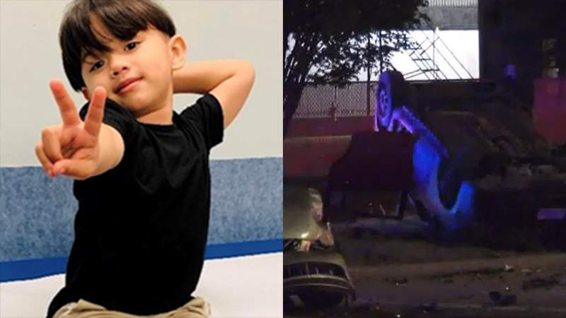A photo of the boy killed in the suspected drunken driving crash on Sunday (photo from the lawsuit documents) and a photo from the scene of the crash.