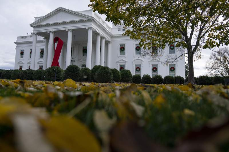 A ribbon hangs on the White House for World AIDS Day 2020, Tuesday, Dec. 1, 2020, in Washington. (AP Photo/Evan Vucci)
