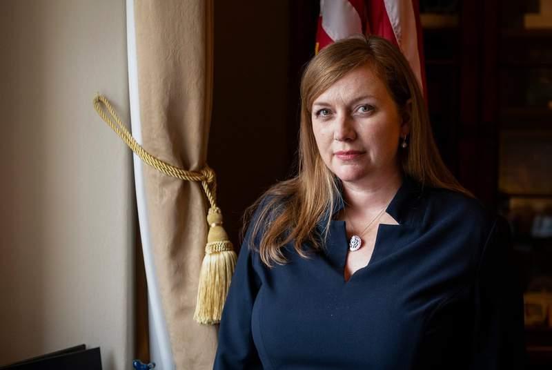 U.S. Rep. Lizzie Pannill Fletcher in her office in Washington, D.C. on Sept. 21, 2021.