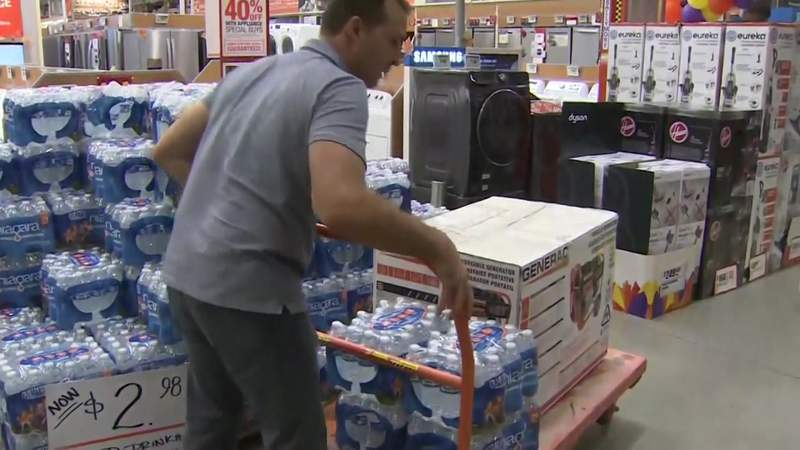 Houston-area residents prepare for severe weather ahead of Tropical Storm Laura and Tropical Storm Marco.
