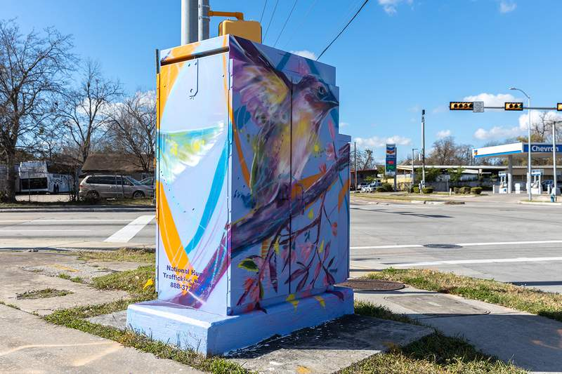 A mural sits between one of the sites in Northside Houston.
