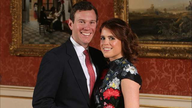 Princess Eugenie and Jack Brooksbank in the Picture Gallery at Buckingham Palace after they announced their engagement. (Photo by Jonathan Brady - WPA Pool/Getty Images)