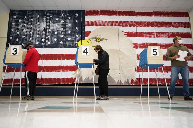 CORRECTS MONTH TO NOVEMBER Voters cast their ballots under a giant mural at Robious Elementary school in Midlothian, Va., Tuesday Nov. 3, 2020. Poll workers said that traffic was slow due to all the early voting in the precinct. (AP Photo/Steve Helber)