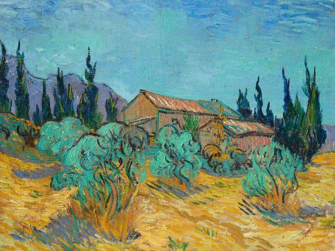 Cabanes de bois parmi les oliviers et cyprès, 1889, by Vincent van Gogh, is estimated to sell for around $40 million.