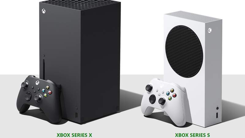 Xbox Series X, left, and Xbox Series S in stores Nov. 10