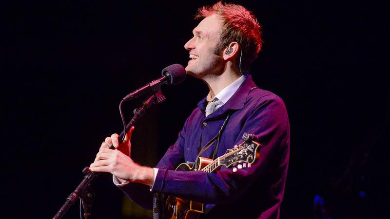Chris Thile (of Nickel Creek and Punch Brothers) performs on stage as the host of 'Live From Here with Chris Thile' radio show (formerly A Prairie Home Companion) at the Keller Auditorium in Portland, Oregon, USA on 13th January, 2018.