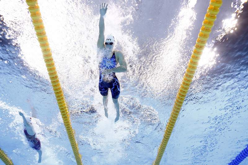 TOKYO, JAPAN - JULY 25: Katie Ledecky of Team United States competes in heat three of the Women's 400m Freestyle on day two of the Tokyo 2020 Olympic Games at Tokyo Aquatics Centre on July 25, 2021 in Tokyo, Japan. (Photo by Tom Pennington/Getty Images)