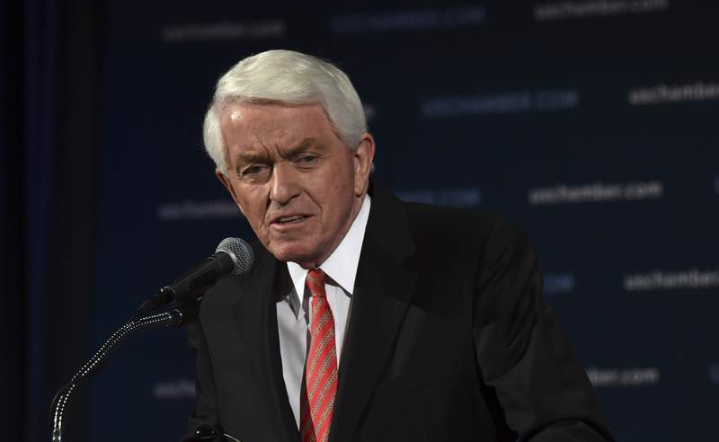 FILE - U.S. Chamber of Commerce President and Chief Executive Officer Thomas Donohue speaks at the Chamber of Commerce in Washington, Jan. 10, 2018. The U.S. Chamber of Commerce is threatening to withhold campaign funds from politicians who railed against approval of Joe Biden's election victory, but it wouldn't identify which ones, nor did it call for the ouster of President Donald Trump after last week's insurrection at the Capitol. The chamber, among the most powerful business groups in Washington, on Tuesday, Jan. 12, 2021 echoed much of corporate America, which has started to reject the violence and false claims of election fraud put forth by Trump and his allies. (AP Photo/Susan Walsh)