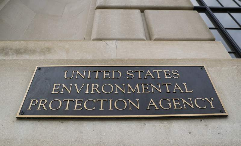 FILE - In this Sept. 21, 2017, file photo, the Environmental Protection Agency (EPA) Building is shown in Washington. Six former Environmental Protection Agency chiefs are calling for an agency reset after President Donald Trumps regulation-chopping, industry-minded first term. The group is presenting a detailed action plan drafted by former EPA staffers for whoever wins the Nov. 3 presidential election.  (AP Photo/Pablo Martinez Monsivais)