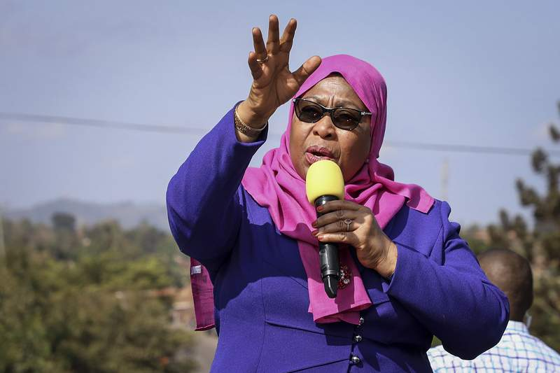 FILE - In this Tuesday, March 16, 2021, file photo, Tanzania's President Samia Suluhu Hassan speaks during a tour of the Tanga region of Tanzania. Tanzania's new president appears to be taking a new, scientific approach to combat the COVID-19 pandemic. President Samia Suluhu Hassan said Tuesday April 6, 2021, she will form a technical committee to advise her about the scope of COVID-19 infections in the country and how to respond to the pandemic. (AP Photo/File)