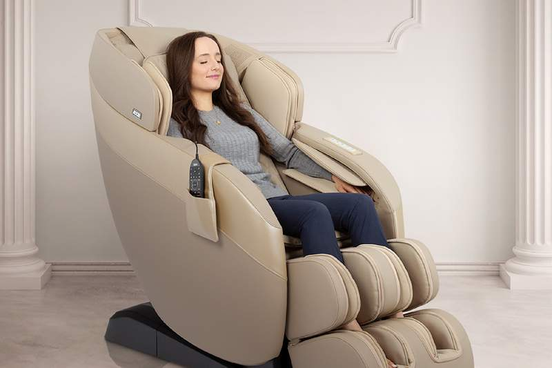 This is an advanced 2D massage chair with an ergonomic SL-track rolling system.