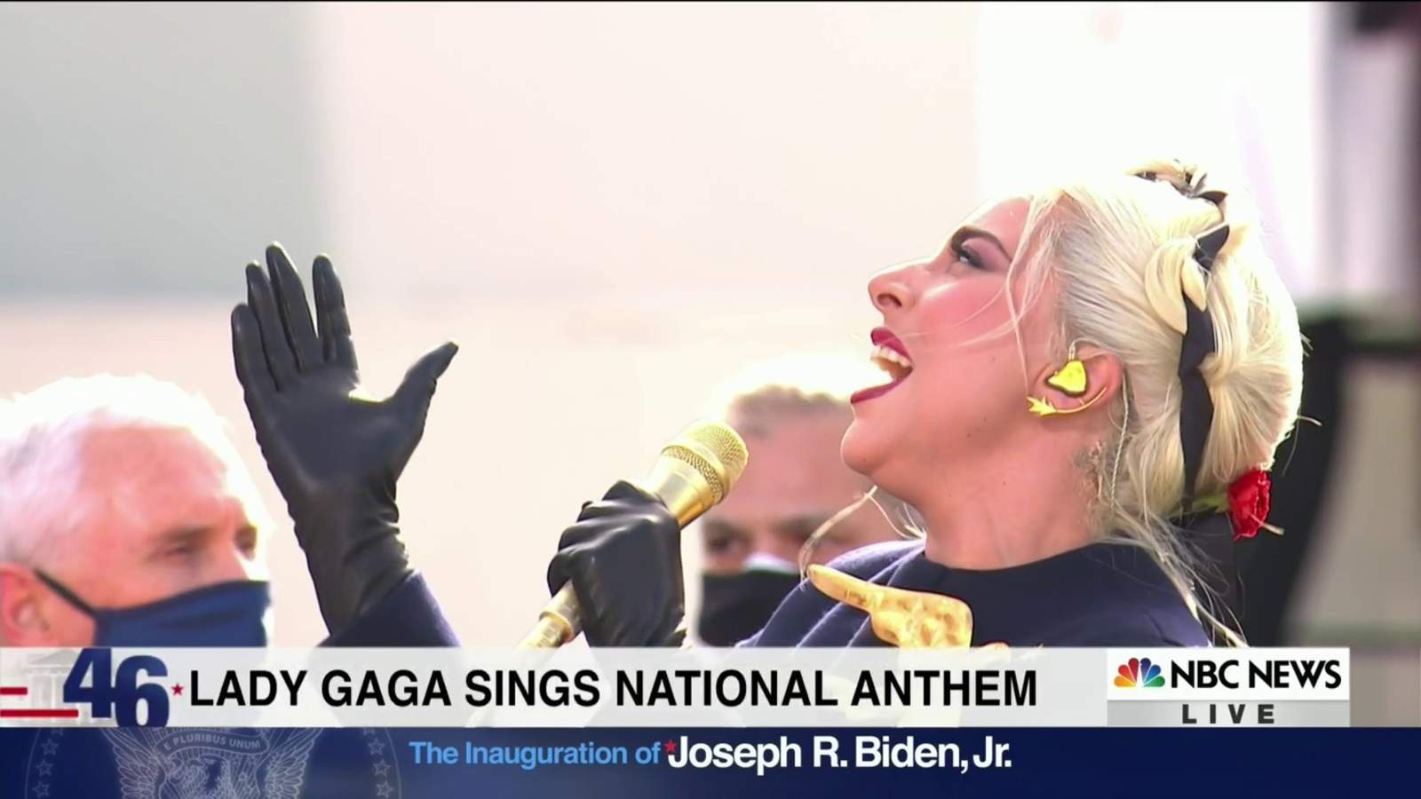 Lady Gaga delivers emotional National Anthem during inauguration