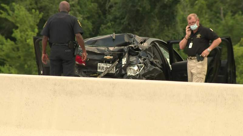 Two children are in critical condition after a three-car pileup on the Fort Bend Parkway Toll Road on Tuesday, Aug. 4, 2020.