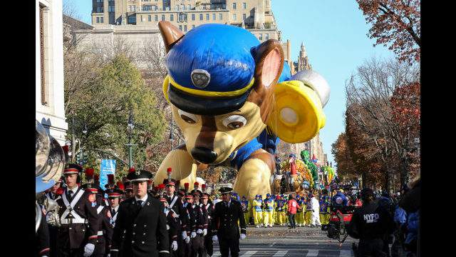 "NEW YORK, NY - NOVEMBER 22: A ""PAW Patrol"" balloon floats during the 92nd annual Macy's Thanksgiving Day Parade on November 22, 2018 in New York City. (Photo by Kena Betancur/Getty Images)"